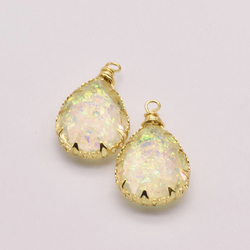 2Pcs/Lot 25mm*15mm Natural Resin Material Jewelry Components Copper Gold Plated Aesthetic Accessories Resin Decoration JA0034