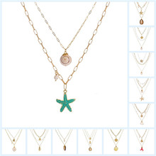Beach Shell Multi-Layer Necklace Fashion Metal Starfish Natural Pearl Pendant Marine Wind Accessories