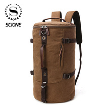 Scione Men Travel Backpack Male Canvas Luggage Duffel Cylinder Bag  Mountaineering Backpack For Men Large Capacity Mochila