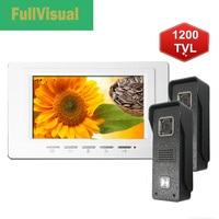 Fullvisual 7 TFT Wired Video Door Phone Door Intercom 2 IR Cameras Doorbell Panel 1200TVL Ringtone Optical One Key Unlock 1V2
