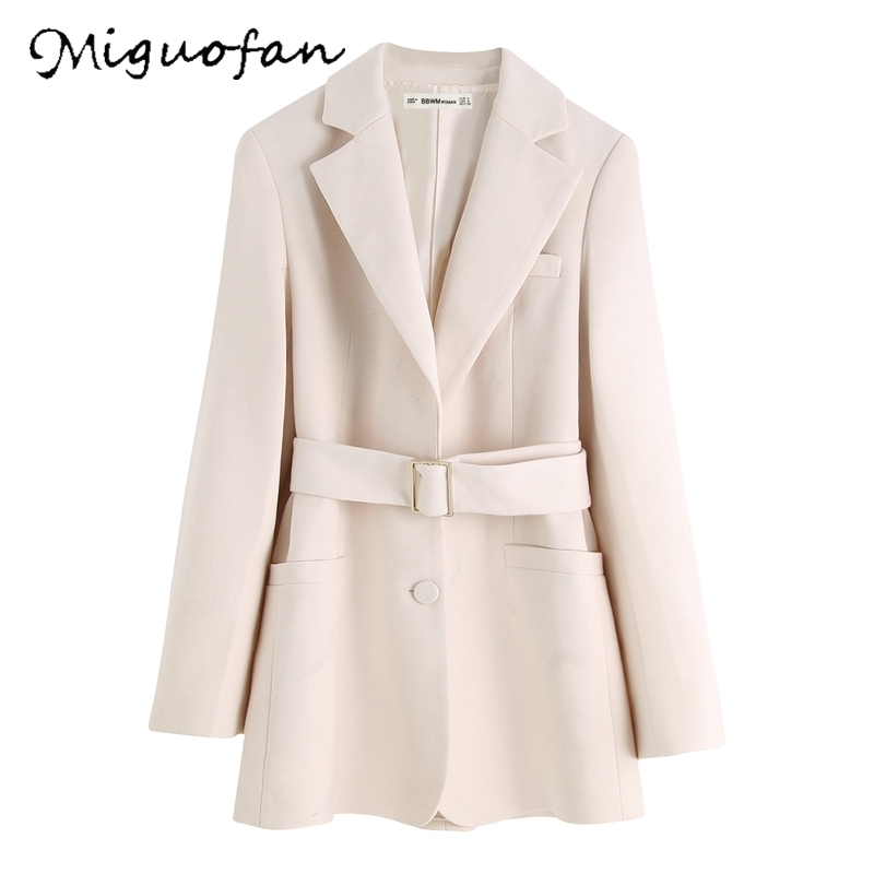 Miguofan 2019 Office Blazers Jackets Coats Vintage Solid Button Long Sleeve Lady Sashes Long Blazer Female Women Blazers Jackets