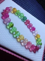Natural Colorful Tourmaline Crystal Bracelet 7.3mm Clear Round Beads Women Crystal Jewelry Candy Tourmaline AAAAAAA 2