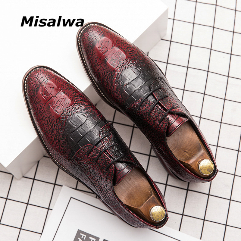 Misalwa Italian Stylist Leather Shoes Men Dress Shoes Crocodile Pattern Oxfords Wedding Shoe Gentleman Derby Loafers Big Size 48