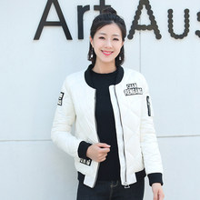 Winter New casual Grey duck down Jacket Women Korea Fashion Uniform Warm Jackets Coat Patch Designs Cotton Female Parkas HF325 s(China)