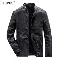 TIEPUS Plus Size 5XL, 6XL, 7XL, 8XL Leather Jacket Men Fleece Warm Business Leather Jacket Men Casual Motorcycle Leather Jacket
