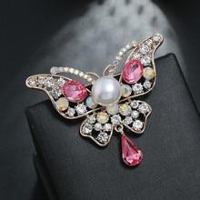New Fashion Imitation Pearls  Brooch Temperament Alloy Multicolor Rhinestones Butterfly Popular Dripping Oil Crystal Brooch rhinestoned butterfly brooch