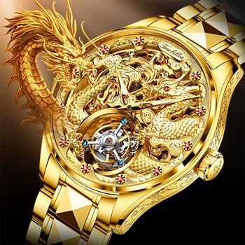 OUPINKE Men's Tourbillon Watch Business Sapphire Mirror Waterproof Luminous Dragon Design Wrist Watch Automatic Mechanical 2