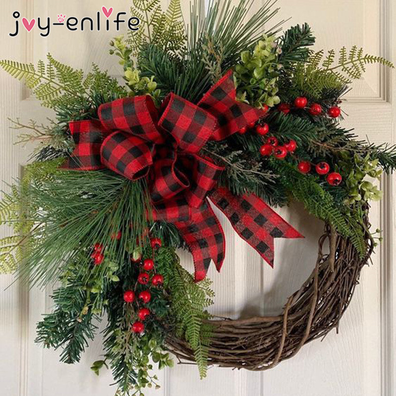10 30cm Christmas Decoration Wreath Natural Rattan Wreaths Garland Xmas Decor For Home Door Christmas Gift Party Noel Ornaments Party Diy Decorations Aliexpress