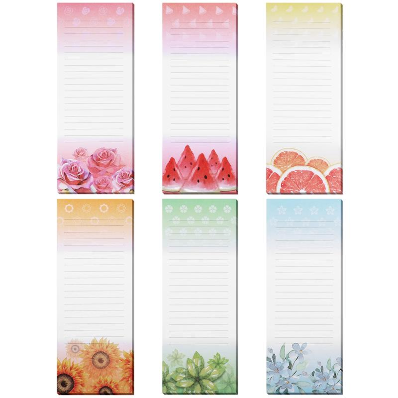 6PCS Magnetic Self-stick Notepads Refrigerator Reminders Memo Pad For Grocery Shopping Message Label Sticker