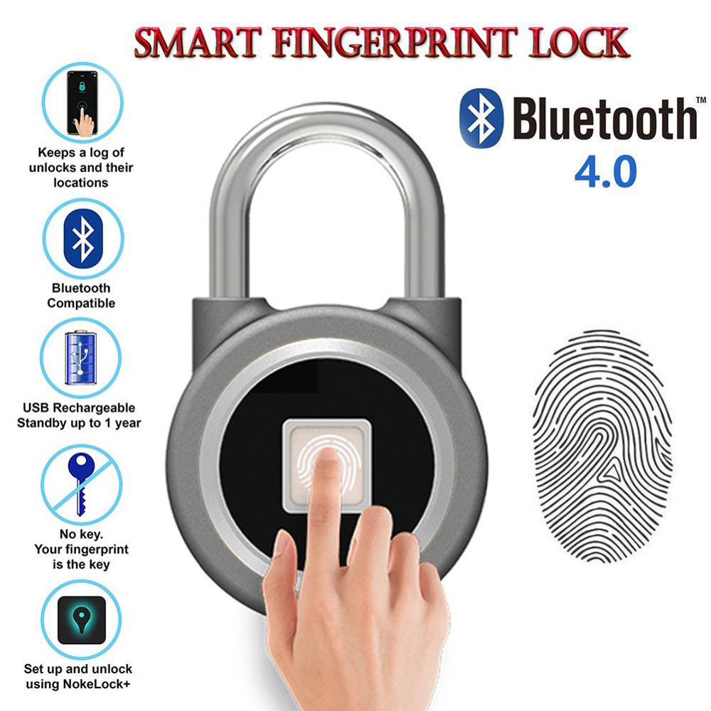 À prova dwaterproof água keyless portátil bluetooth inteligente bloqueio de impressão digital cadeado anti-roubo ios android app controle armário da porta cadeado
