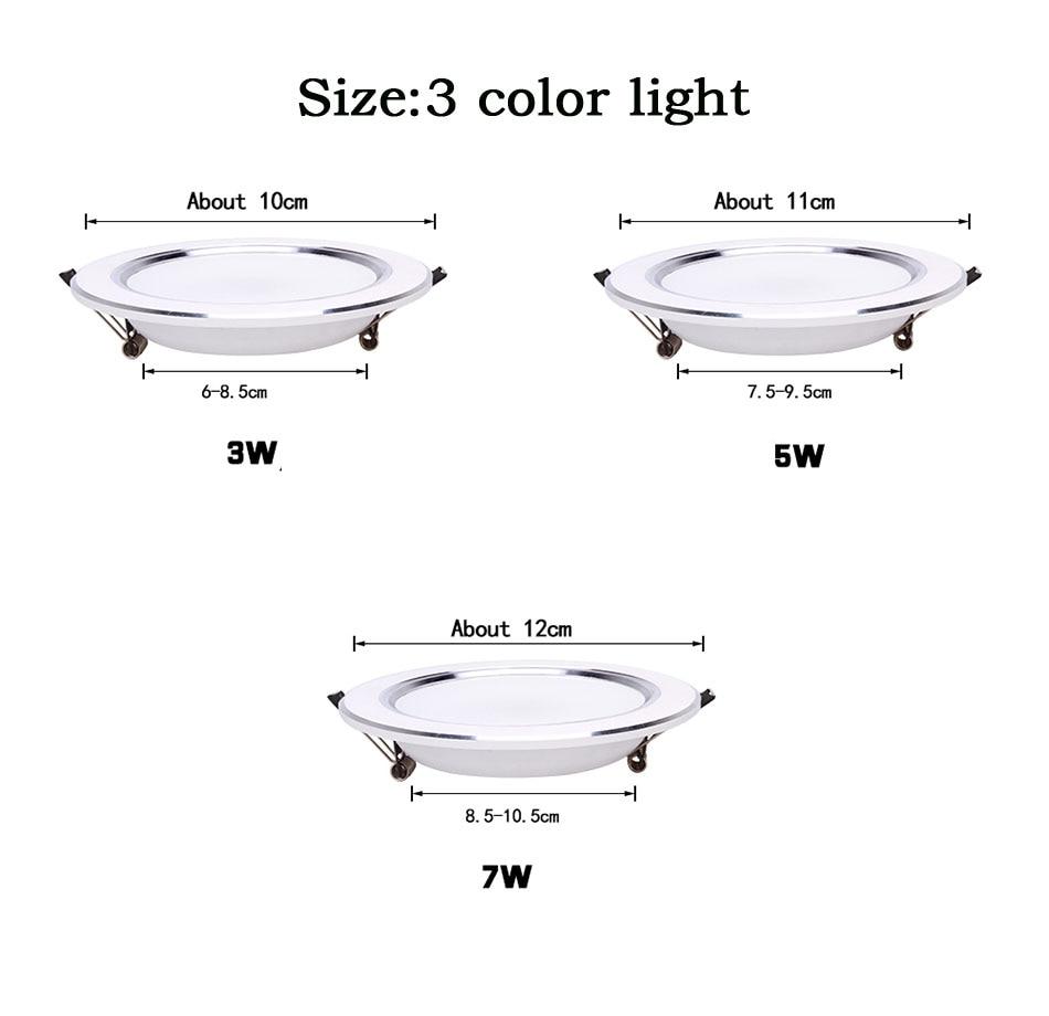 Ультра яркий круглый светодиодный вниз светильник, 3 Вт, 5 Вт, 7 Вт, 9 Вт, 12 Вт, 15 Вт, 18 Вт, Алюминий AC110V 220V светодиодный вниз светильник потолочное утопленное пятно светильник
