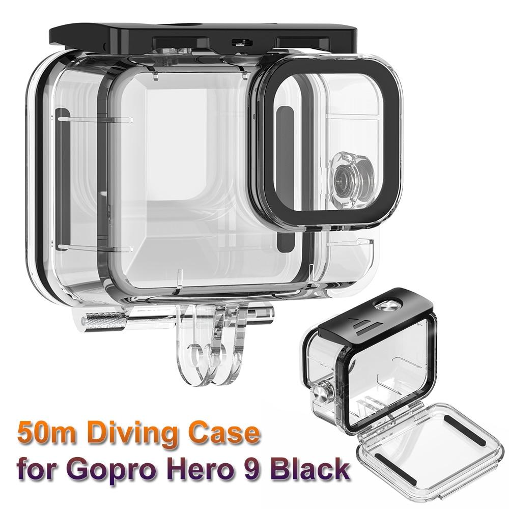 preta subaquática 50m proteção caixa escudo para gopro 9 acessórios