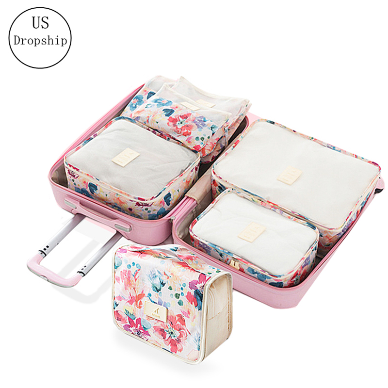 6Pcs/set Travel Bags Woman Portable Wash Storage Bag Luggage Organizer Clothing Underwear Tidy Pouch Suitcase Travel Accessories