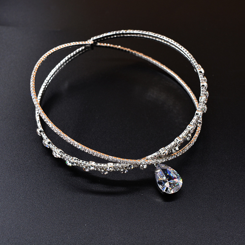 FYUAN Luxury Crown Crystal Choker Necklaces for Women Water Drop Pendant Necklaces Torques Weddings Jewelry Party Gifts