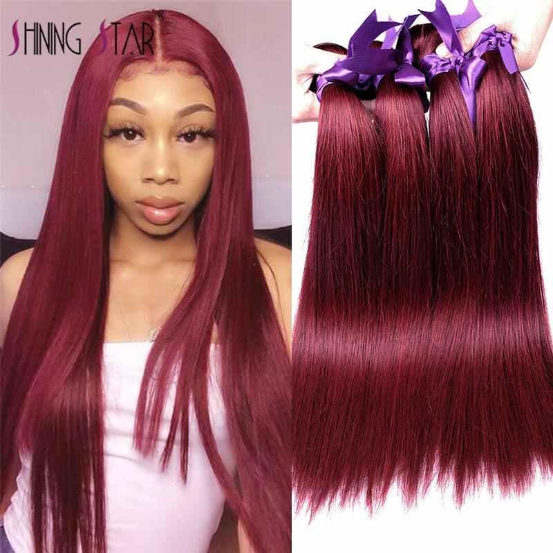 Bordeaux Steil Haar 3 Bundels Met Sluiting Rode Peruaanse Haar Weave Bundels Met Sluiting Haarverlenging Shining Star Remy Haar