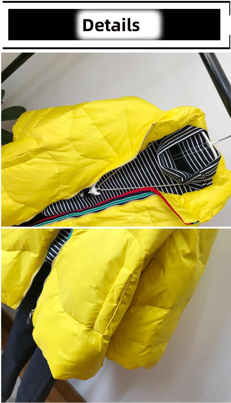 [EWQ] 2019 nowa moda zima Plus rozmiar Parka płaszcz biały kaczka pióro gruby długi rękaw Trend kobiety dół kurtki QK94401