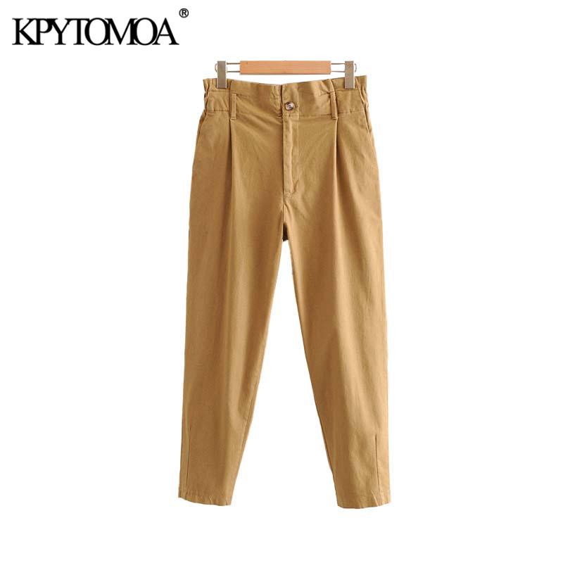 Vintage Stylish High Waisted Pockets Harem Pants Women 2020 Fashion Elastic Paperbag Waist Zipper Fly Female Trousers Pantalones