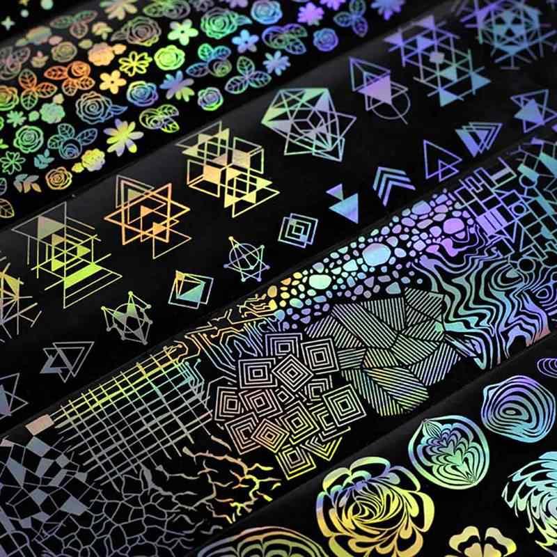 8 pz/lotto Olografica Stagnola Del Chiodo Laser Fiore Sogno Catcher Modelli Misti Manicure Unghie artistiche di Trasferimento Sticker Set