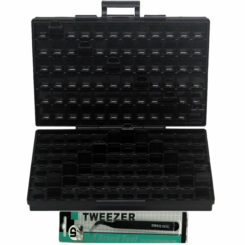 8pcs AideTek ESD Safe SMD Storage IC Box Organizer W/144 Bins Anti-statics SMD SMT Organizer Transistor Plastic Toolbox BOXALLAS