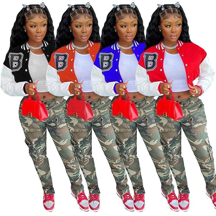 H63c9bd682ca34cf8873a0c8a2a5fe574D Baseball Jackets for Women 2021 Autumn Letter Print Color Patchwork Cropped Long Sleeve Loose Short Bomber Jacket