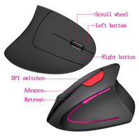 Computer Vertical Mouse Laptop Rechargeable 5D Game Ergonomic 800/1600/2400DPI