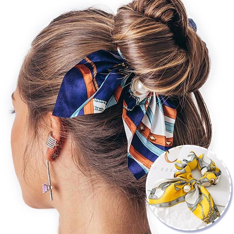 New Chiffon Bowknot Elastic Hair Bands For Women Girls Pearl Scrunchies Headband Hair Ties Ponytail Holder Hair Accessories(China)