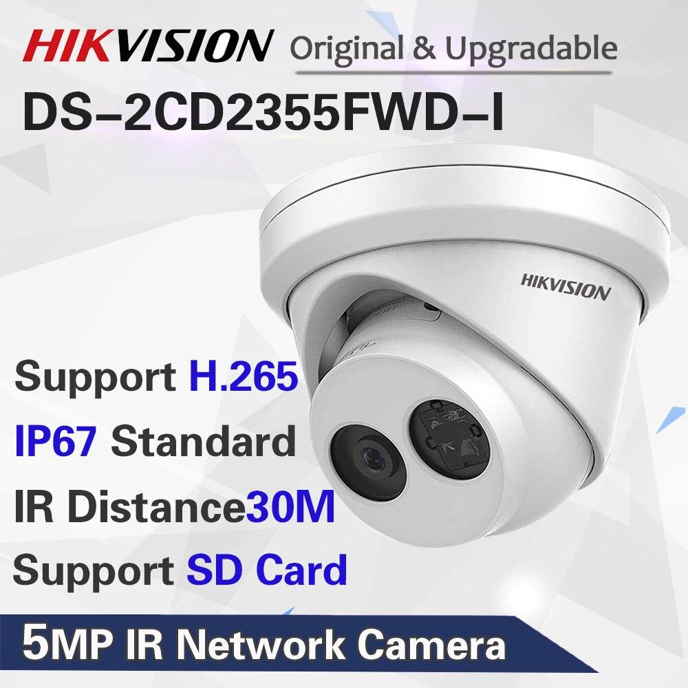 HIKVISION H.265 камера DS-2CD2355FWD-I 5MP ИК фиксированная револьверная сетевая камера мини купольная ip-камера слот для sd-карты распознавание лица
