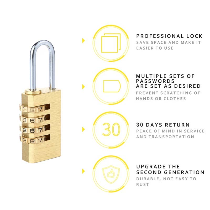Safety Essential 4 Digits Number Password Code Lock Combination Padlock Resettable Travel Bag Door Secret Boxes Password Copper