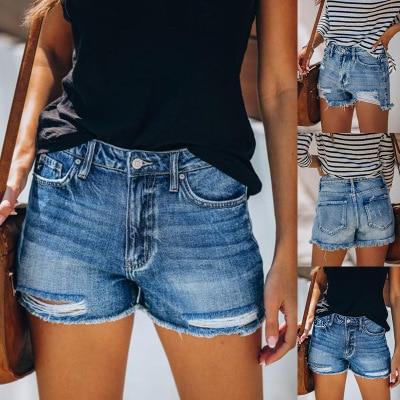 Summer Denim Shorts For Women Ripped Hole Casual Jeans Shorts Ladies Slim Regular Short