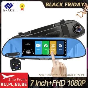Image 1 - E ACE 7.0นิ้วรถDvrกระจกมองหลังTouch Dashกล้องบันทึกวิดีโอFHD 1080P Dualเลนส์ด้านหลังกล้องDashcam