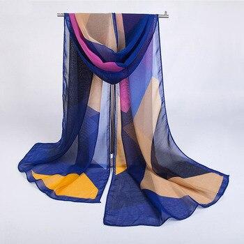 Hot-selling Womens Chiffon Silk Scarf Personality Geometric Checkered  Long Thin Scarves Luxury Sunscreen Beachwear Shawls