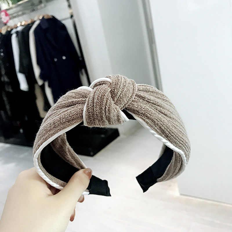 Słodki jednolity kolor dzianiny wełniane Hairbands dla kobiet dziewczynki biały bok środkowy wiązane opaska na głowę Hoop akcesoria do włosów stroik