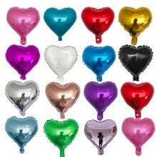 Balões laminados de alumínio para festas, balões de alumínio do amor do coração de 10 polegadas, balões para chá de bebê, aniversário, festa de casamento e decoração, 10pçs