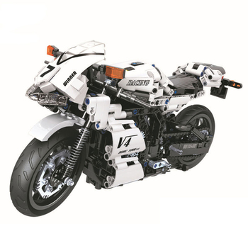 7047 716pcs Technic series White Racing motorcycle Building Blocks DIY Bricks Toys for children Great Gifts