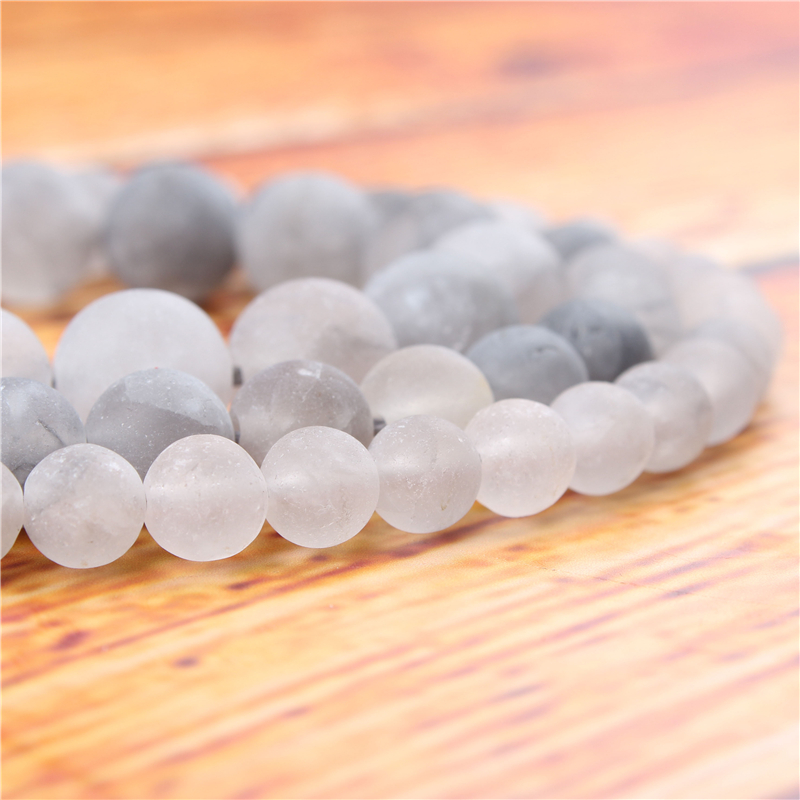 Frosted Cloud Crystal Natural Stone Bead Round Loose Spaced Beads 15 Inch Strand 4/6/8/10/12mm For Jewelry Making DIY Bracelet