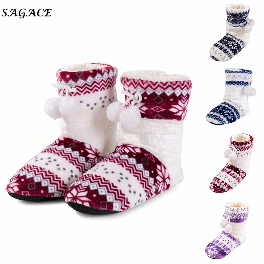 CAGACE Çizmeler Kadın Kış Süet Ev Botları Bayan Çiçek Topu Noel Ekose Kırmızı Kar Botları Bayanlar Düz ShoIes