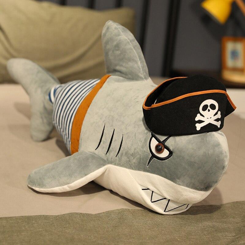 80cm Plush Shark Toy Doll Soft Animals Pillows Big Toys For Children pirate Shark Stuffed Toys For Boys Birthday Gifts Children