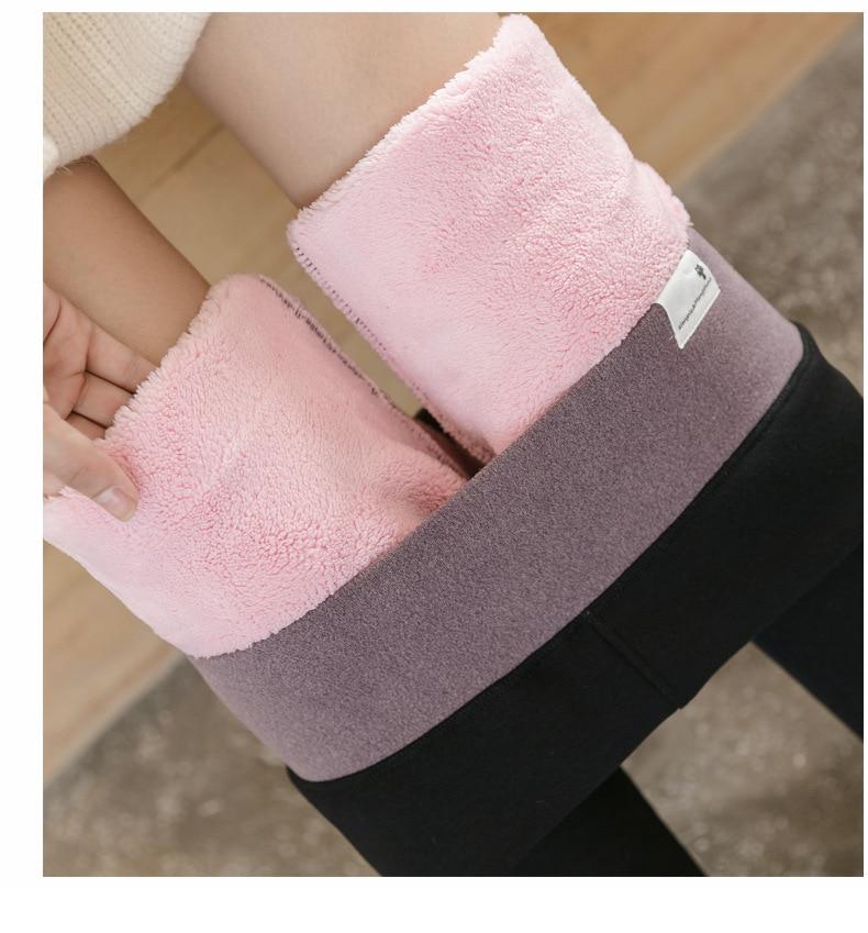 Women Plus Size Velvet Winter Leggings Warm Black Thick Fleece Leggings High Waist Elastic Thicken Skinny Winter Leggins Femme