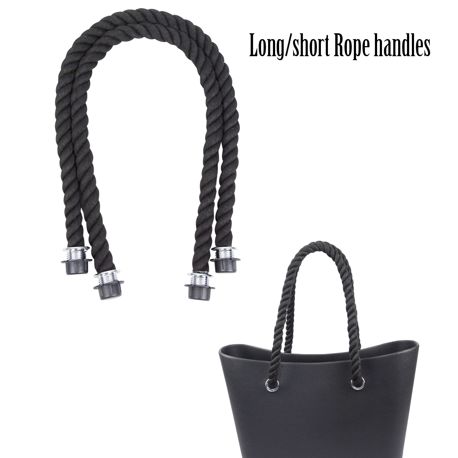 2019 New 1 Pair Long Short Black Natural Hemp Rope Handle For O Bag Obag Women Handbag Classic Mini EVA Bag