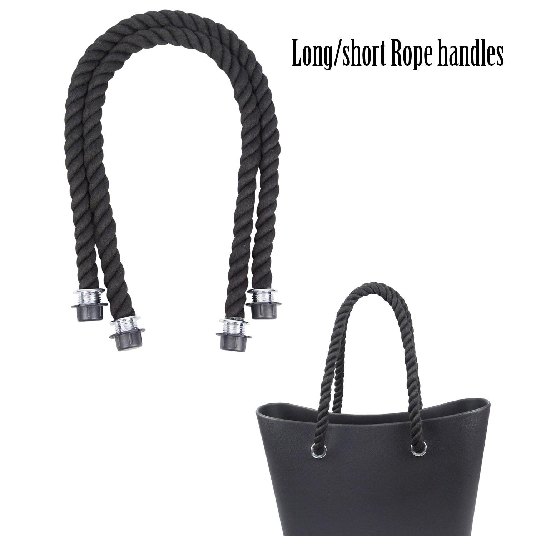 New 1 Pair Long Short Black Natural Hemp Rope Handle For O Bag Obag Women Handbag Classic Mini EVA Bag