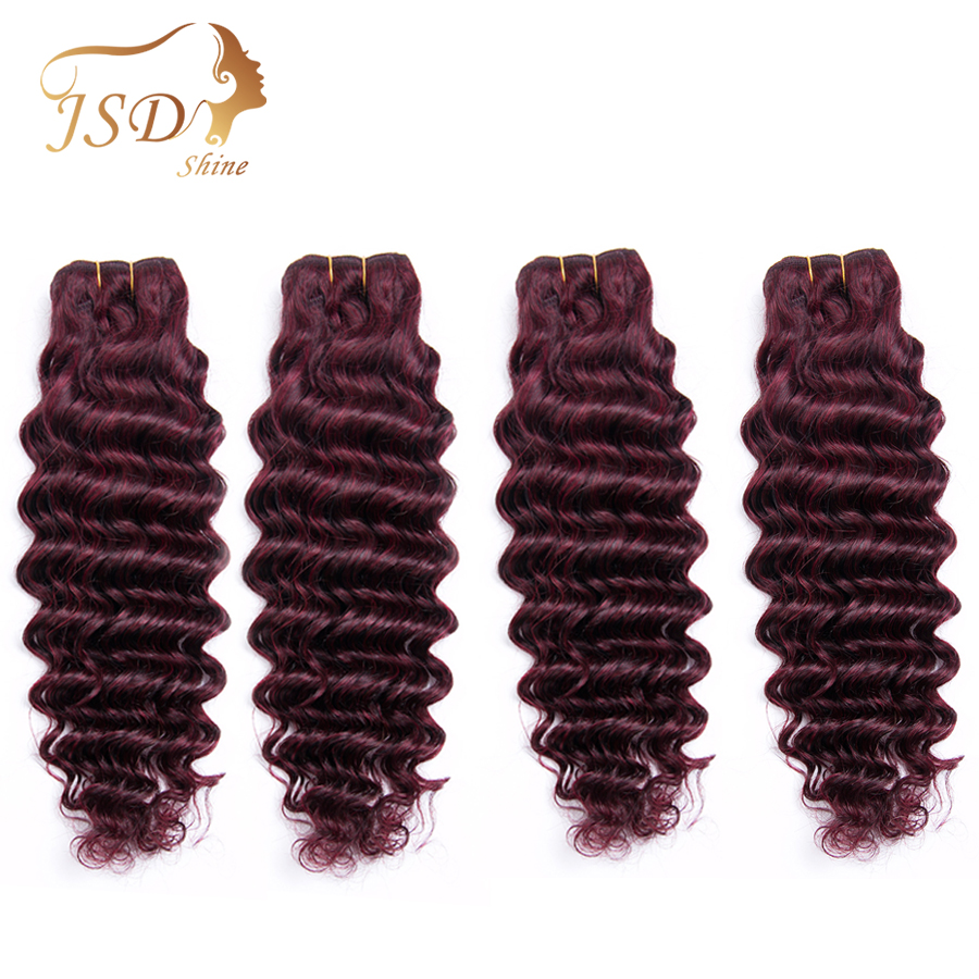 JSDShine Brazilian Hair Deep Wave Burgundy 99J Red Color Human Hair Weave 4 Bundles Double Weft Hair Extension Non Remy