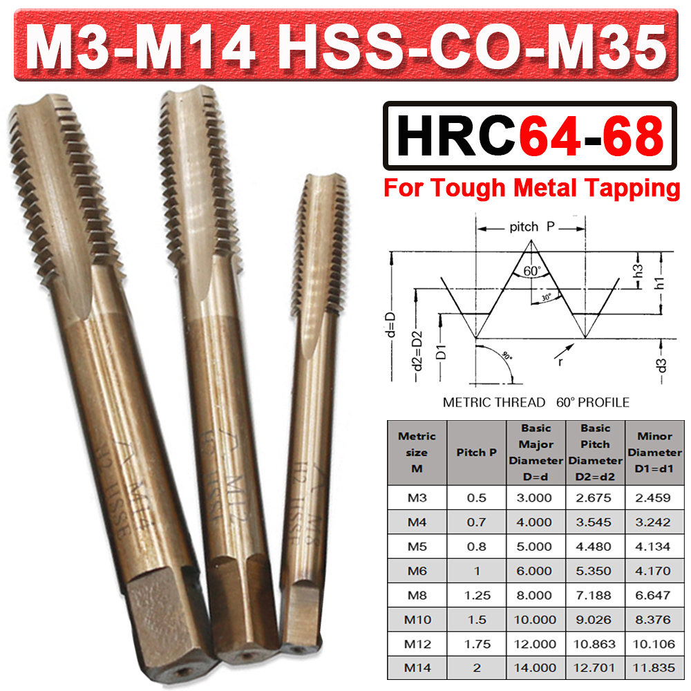 HRC64 HSS-Co-M35 Metric Serial Tap Set M3 M4 M5 M6 M8 M10 M12 Right Hand Thread Cutter Machine Taps For Stainless Steel D30