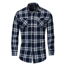 Fashion Mens Plaid Shirt Long Sleeve Cotton Double Row Pocket Decorative Business