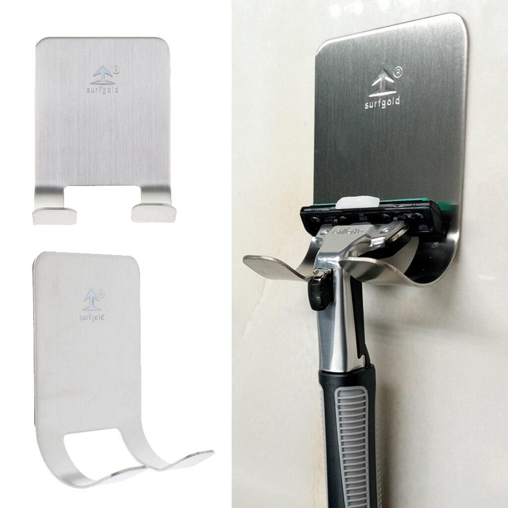 Multi Purpose Shaver Holder For Shower Adhesive Holder Shaver Hook Hanger Stand, Stainless Steel Wall Sticky Hook