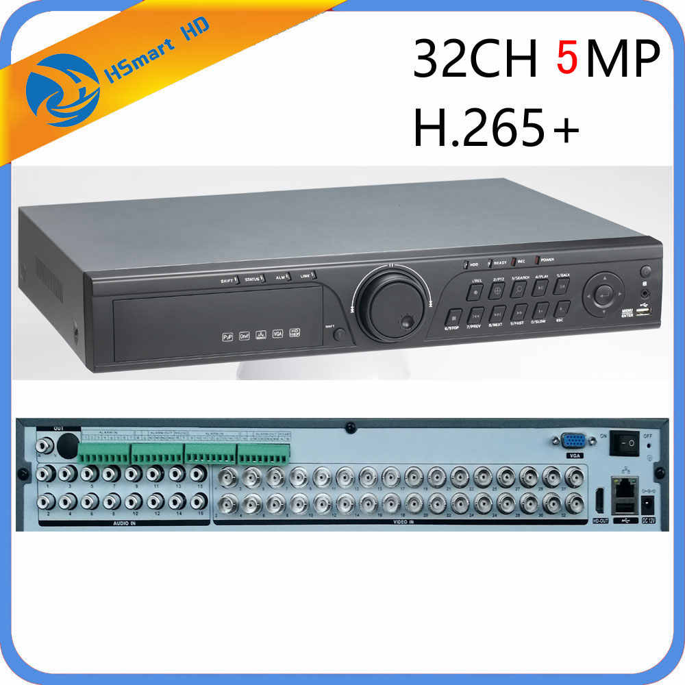 CCTV 32CH 5MP 32 kanal AHD DVR H.265 CVI TVI NVR 1080P HDMI VIDEO desteği Analog AHD IP kamera 16CH ses girişi hibrid HD DVR