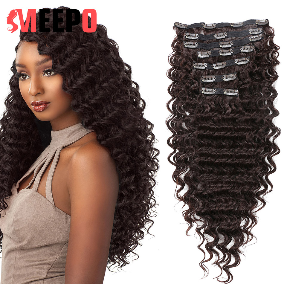 MEEPO Synthetic Deep Wave Curly Clip in Hair Extensions Full Head Heat Resistance Deep Wavy Clip In 7 Pieces
