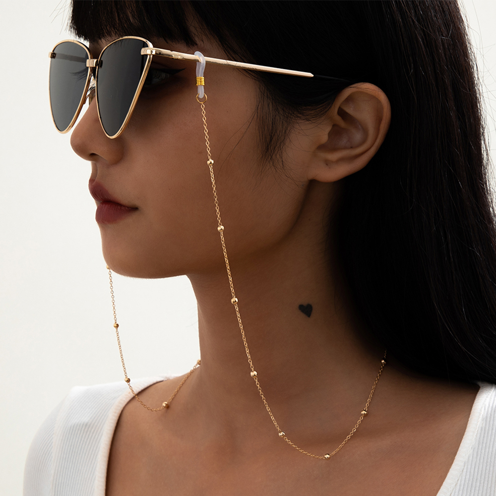 Lacteo Steampunk Iron Balls Chain Long Necklace/Glasses Fashion Neck Strap Metal Glasses Women Jewelry Decoration Accessories