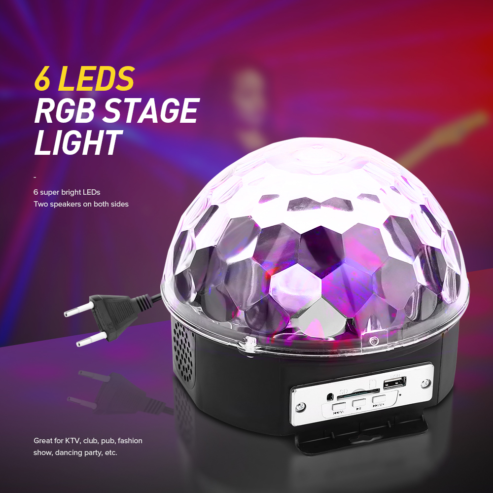 25W 6 LEDs RGB Premium Sound Control Stage Light RGB LED Magic Crystal Ball Lamp Disco Light Laser Wedding Party Lamp