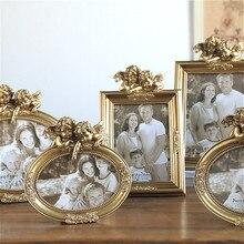 Marco de fotos de resina Vintage, marcos de fotos de oro Cupido para bebé, soporte para fotos, ornamento, decoración clásica de hogar de boda, 6/7/8 pulgadas