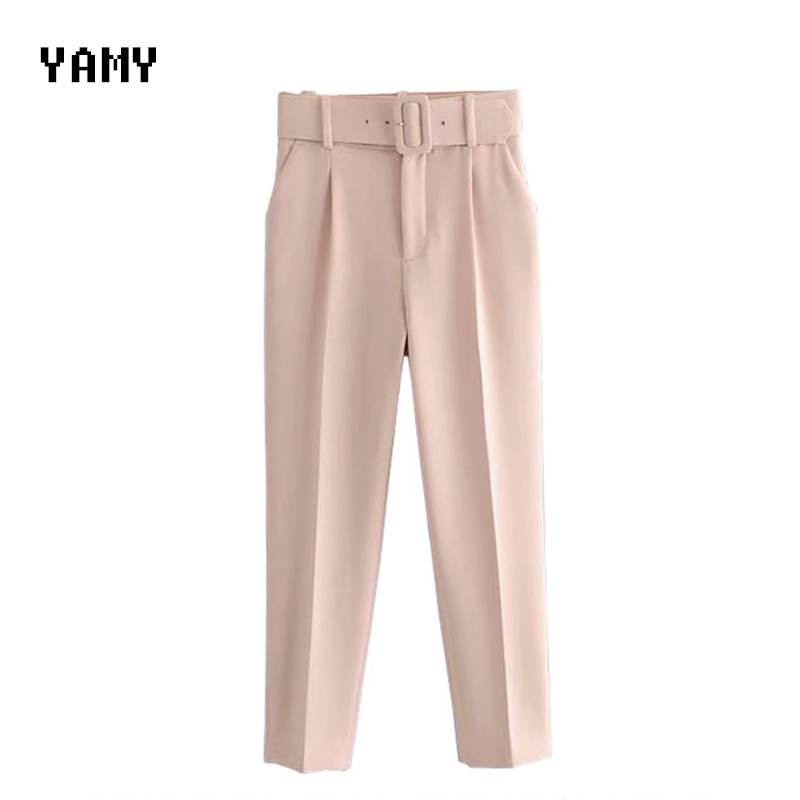 New Womens Pink Suit Pants Trousers High Waist Office Lady Purple Pants Capris With Belt Top Quality Female Zora Formal Pants